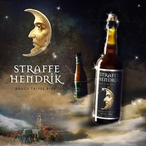 Veille lunaire protectrice sur la ville de Bruges, berceau d'origine de la bière Staffe Hendrick dans le ciel étoilé.