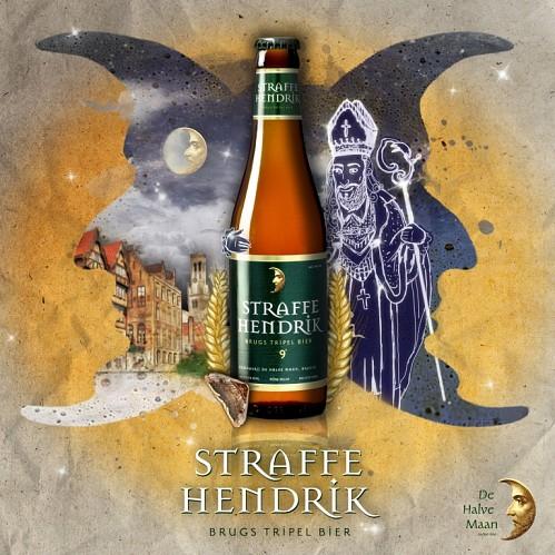 La bière brugeoise, tel le papillon de nuit, sort la nuit tombée pour rayonner gaiement. Sous le regard attendrit du saint patron des brasseurs, la Straffe Hendrick sublime les soirées de la ville.