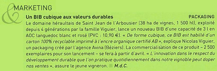 Article V&S news BIB Arbousier